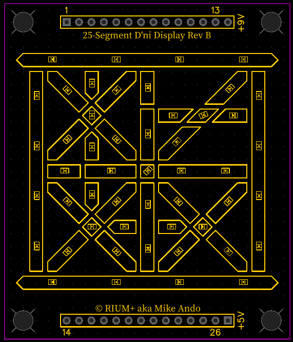 25-segment D'ni Display silkscreen layout