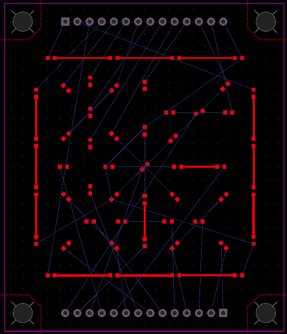 LEDs and a couple traces placed on the 25-segment D'ni Display circuit layout