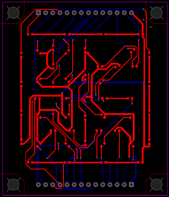 Final circuit layout of the 25-segment D'ni Display circuit, mostly autorouted