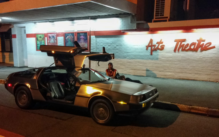 DeLorean out the front of the Brisbane Arts Theatre