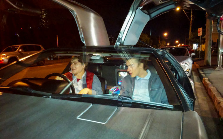 Marty & George McFly in my DeLorean at the Brisbane Arts Theatre
