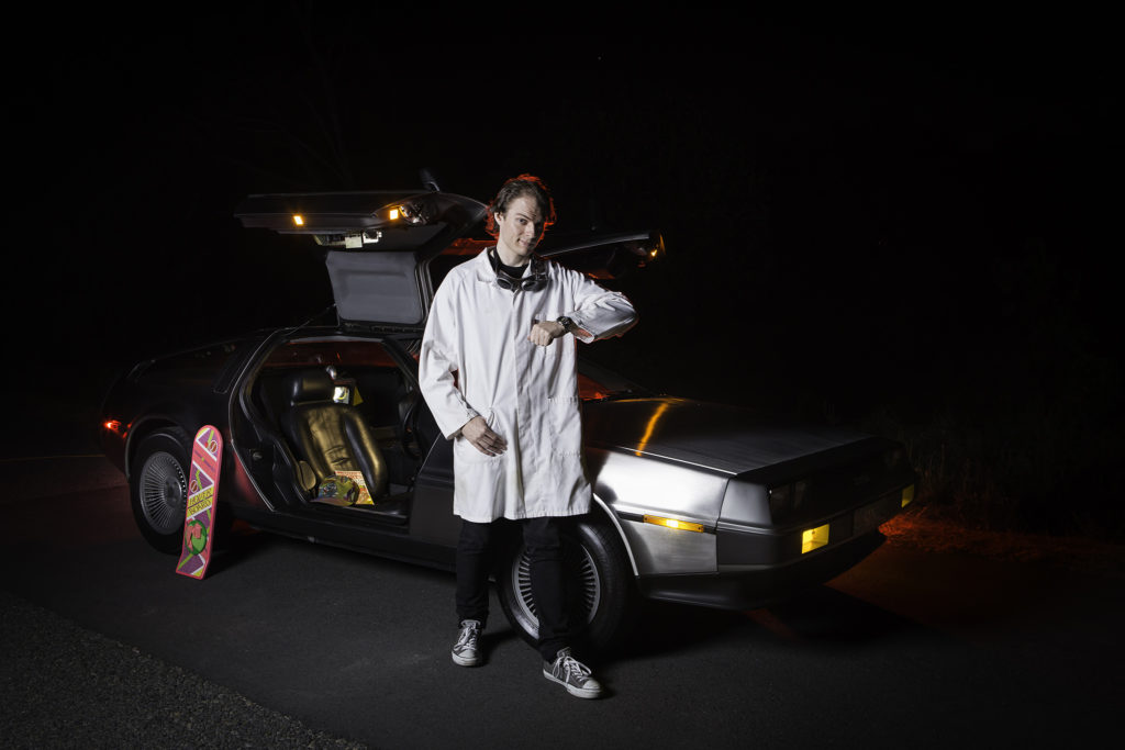 Mike Ando with his DeLorean