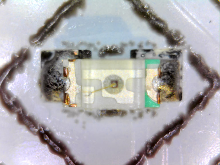 Microscope photo of a soldered SMD 0603 LED