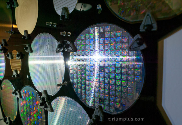 Silicon Wafer Closeup showing rainbow patterns