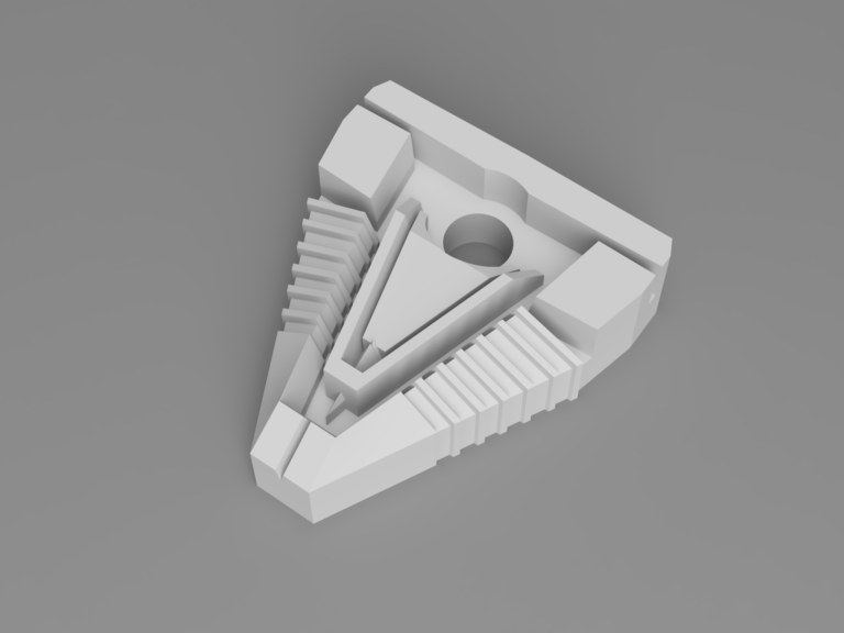 3D model of the clip holding on the Silicon Wafers. It's based on the Chevrons around the Stargate